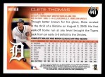 2010 Topps #441  Clete Thomas  Back Thumbnail