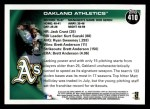 2010 Topps #410   Athletics Team Back Thumbnail