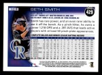 2010 Topps #429  Seth Smith  Back Thumbnail