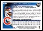 2010 Topps #463  Carlos Marmol  Back Thumbnail