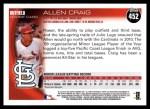 2010 Topps #452  Allen Craig  Back Thumbnail
