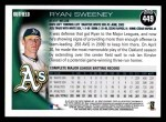 2010 Topps #449  Ryan Sweeney  Back Thumbnail