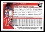 2010 Topps #500  Brad Lidge  Back Thumbnail
