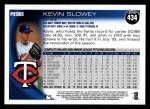 2010 Topps #434  Kevin Slowey  Back Thumbnail