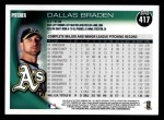 2010 Topps #417  Dallas Braden  Back Thumbnail