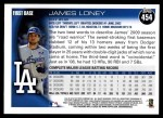 2010 Topps #454  James Loney  Back Thumbnail
