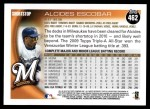 2010 Topps #462  Alcides Escobar  Back Thumbnail