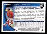 2010 Topps #582  Martin Prado  Back Thumbnail