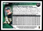 2010 Topps #517  Cliff Pennington  Back Thumbnail