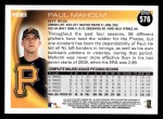 2010 Topps #576  Paul Maholm  Back Thumbnail