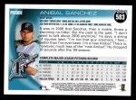 2010 Topps #583  Anibal Sanchez  Back Thumbnail