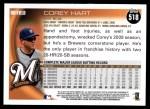 2010 Topps #518  Corey Hart  Back Thumbnail