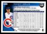 2010 Topps #520  Randy Wells  Back Thumbnail