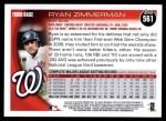 2010 Topps #561  Ryan Zimmerman  Back Thumbnail