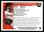 2010 Topps #539   Diamondbacks Team Back Thumbnail