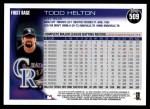 2010 Topps #509  Todd Helton  Back Thumbnail