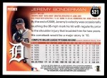 2010 Topps #521  Jeremy Bonderman  Back Thumbnail