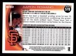 2010 Topps #578  Aaron Rowand  Back Thumbnail