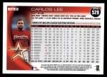 2010 Topps #529  Carlos Lee  Back Thumbnail