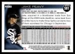 2010 Topps #501  Jake Peavy  Back Thumbnail