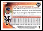 2010 Topps #507  Francisco Rodriguez  Back Thumbnail