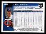 2010 Topps #635  Carl Pavano  Back Thumbnail