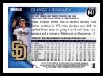 2010 Topps #641  Chase Headley  Back Thumbnail