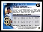 2010 Topps #657  Chris Young  Back Thumbnail