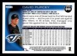 2010 Topps #644  David Purcey  Back Thumbnail