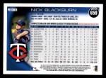 2010 Topps #659  Nick Blackburn  Back Thumbnail