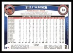 2011 Topps #13  Billy Wagner  Back Thumbnail