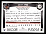2011 Topps #65  Chris Sale  Back Thumbnail