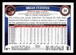 2011 Topps #54  Brian Fuentes  Back Thumbnail