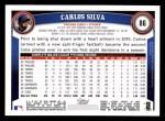 2011 Topps #86  Carlos Silva  Back Thumbnail