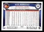 2011 Topps #50  Alex Rodriguez  Back Thumbnail