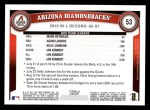2011 Topps #53   Diamondbacks Team Back Thumbnail