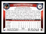 2011 Topps #10  Stephen Strasburg  Back Thumbnail