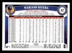 2011 Topps #42  Mariano Rivera  Back Thumbnail