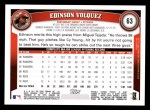 2011 Topps #63  Edinson Volquez  Back Thumbnail