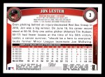 2011 Topps #3  Jon Lester  Back Thumbnail