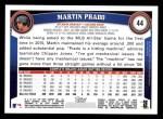 2011 Topps #44  Martin Prado  Back Thumbnail