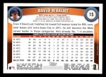 2011 Topps #15  David Wright  Back Thumbnail
