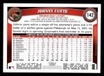 2011 Topps #142  Johnny Cueto  Back Thumbnail
