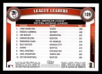 2011 Topps #109   -  Josh Hamilton / Miguel Cabrera / Joe Mauer AL Batting League Leaders Back Thumbnail