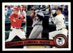 2011 Topps #109   -  Josh Hamilton / Miguel Cabrera / Joe Mauer AL Batting League Leaders Front Thumbnail