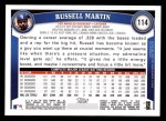 2011 Topps #114  Russell Martin  Back Thumbnail