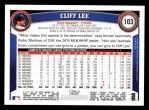 2011 Topps #103  Cliff Lee  Back Thumbnail