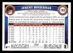 2011 Topps #182  Jeremy Bonderman  Back Thumbnail