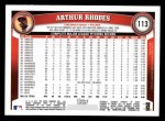 2011 Topps #113  Arthur Rhodes  Back Thumbnail
