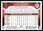 2011 Topps #291  Juan Gutierrez  Back Thumbnail